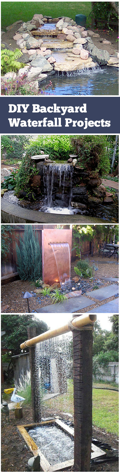 Backyard water fall, waterfall projects, easy waterfall projects, DIY waterfall, popular pin, outdoor living, DIY outdoor projects, outdoor entertainment, landscaping.
