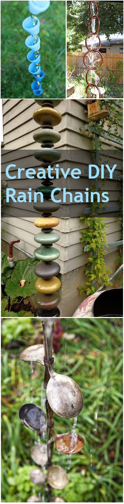 Creative DIY Rain Chains. DIY Rain Chains, Homemade Rain Chains, Gardening, Gardening Tips and Tricks, Outdoor DIY Projects, DIY Projects, Yard and Landscaping #garden #gardening #yardandlandscape #diygarden #outdoordiy