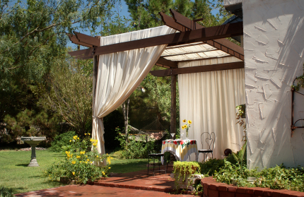 Patio with Canvas Curtains