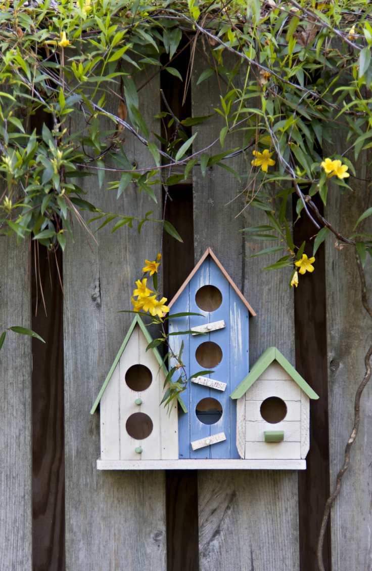 Add colorful birdhouses to the side of your fence for a fun and beautiful arrangement. Here are some quick and easy ways to decorate your garden fence.