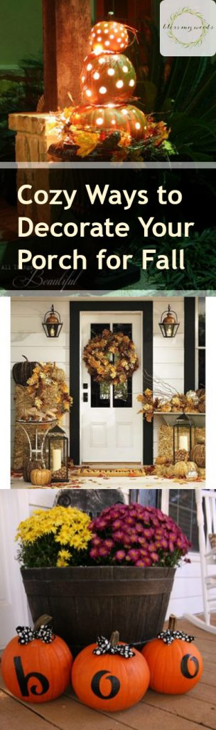 Cozy Ways to Decorate Your Porch for Fall - Bless My Weeds|  Fall Porch Decor, Porch Decor Ideas, How to Decorate Your Porch for Fall, Porch Decor, Porch Decor Ideas, Fall Porch Decor Ideas, Great Ways to Decorate Your Porch