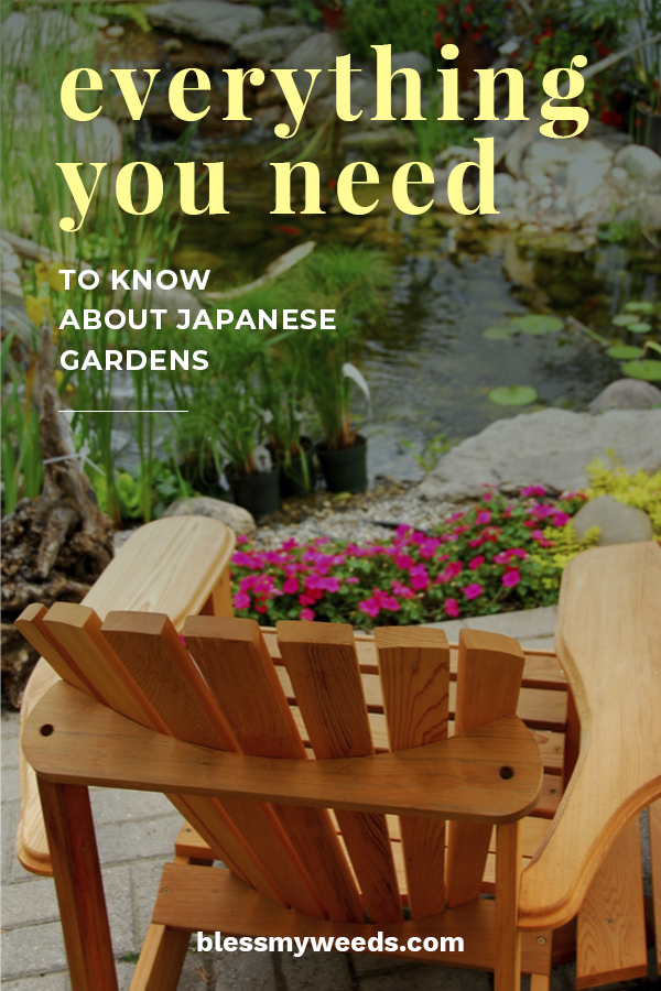 The thought of a Japanese garden makes me smile. They are simply stunning. Today we will discuss Japanese garden design, ideas for your backyard, the plants used in a garden and even talk about lanterns for the finishing touch. Bring Japan to your home with these gardening tips from Bless My Weeds. #japanesgardenideas #gardeningtips