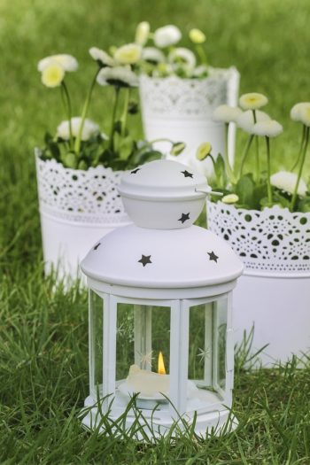 Have you ever seen a garden with lanterns all around it? It is the cutest thing! For more garden art ideas to inspire you, look here.