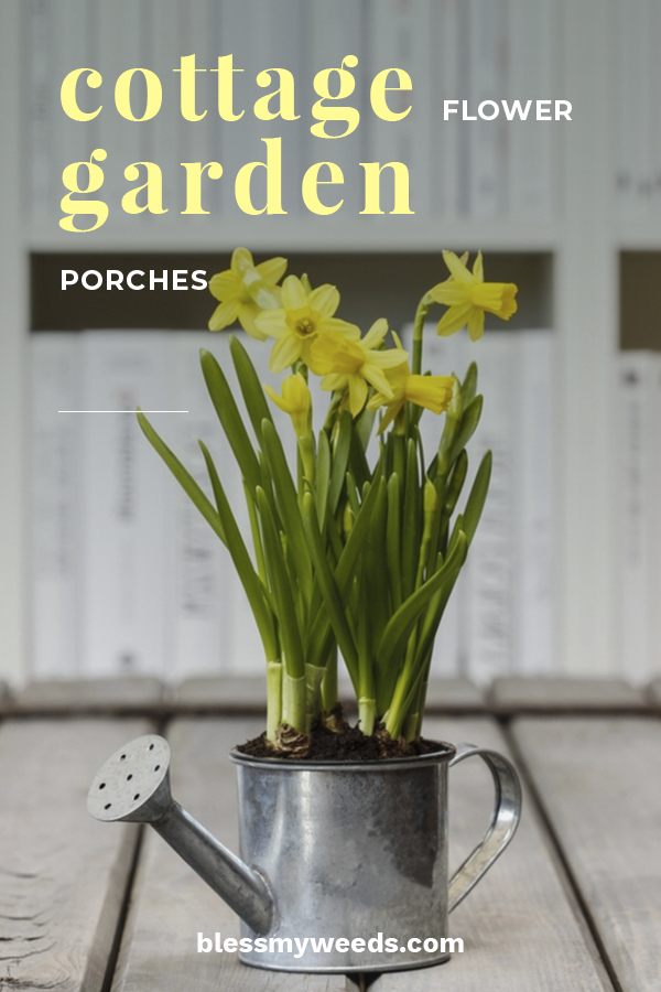 I often think of my grandma's cottage house. It was little colorful, full of flowers and have a wonderful porch. Today's article is about items needed to create a cottage flower garden porch. If you want that timeless look that reminds you of a painting, keep reading to learn about easy ways to make it happen with flowers, watering cans and more. #howtomakeacottagegardenporch #cottageporchideas #cottageporchdecorideas
