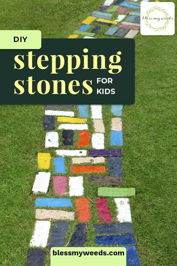 In this year's garden, add DIY stepping stones for kids. The kids will have a blast making and decorating these! Use a kit or have fun dreaming up your own molds. #blessmyweedsblog #DIYsteppingstonesforkids