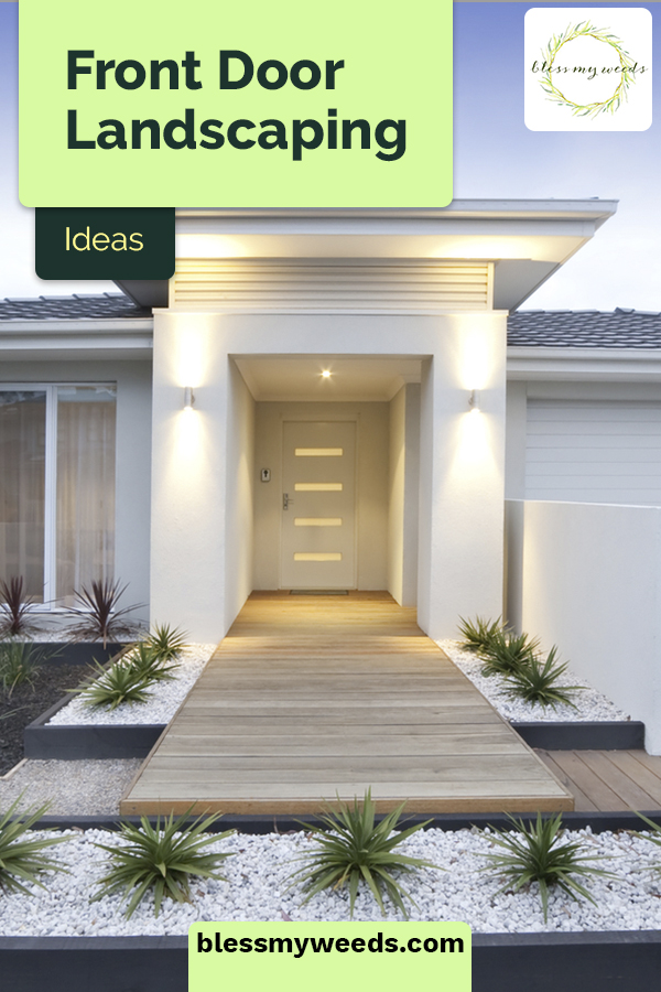 Front door landscaping ideas that take your home's entrance from hum-drum to fabulous! Make an inviting entryway that really stands out from the rest. #blessmyweedsblog #frontdoorlandscapingideasentryway #curbappeal