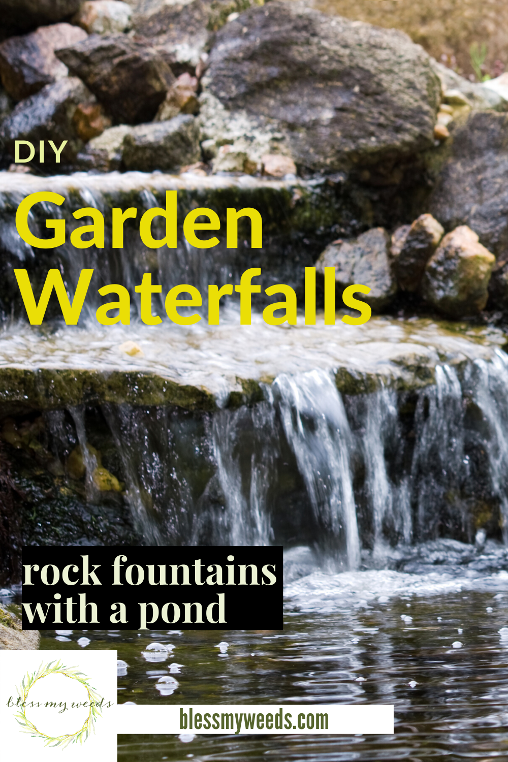 A garden waterfall always seems to be part of the landscape of luxury homes. But, you can have one, too. Even if your home is modest. Let Bless My Weeds help you with ideas, DIY projects, and ways you can save money. Imagine the soothing sounds of a waterfall in your yard. Read on to learn how you can have one this summer. #gardenwaterfall#backyardprojects #DIYgardenwaterfall