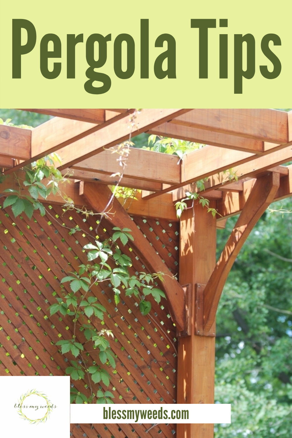 Save money by building your own pergola. These pergola building tips will take you through each step to make the job easier. Now you just need to decide what style you want. Read on for more info. #pergola #howtobuildapergola #DIYprojects #backyardprojects #blessmyweedsblog