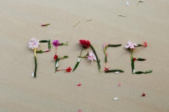 Star-Shaped Flowers Spelling Peace